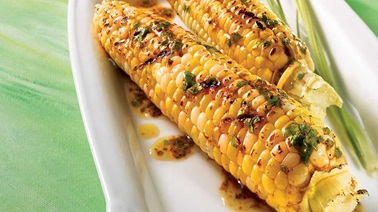 Bbq corn on the cob with mexican butter