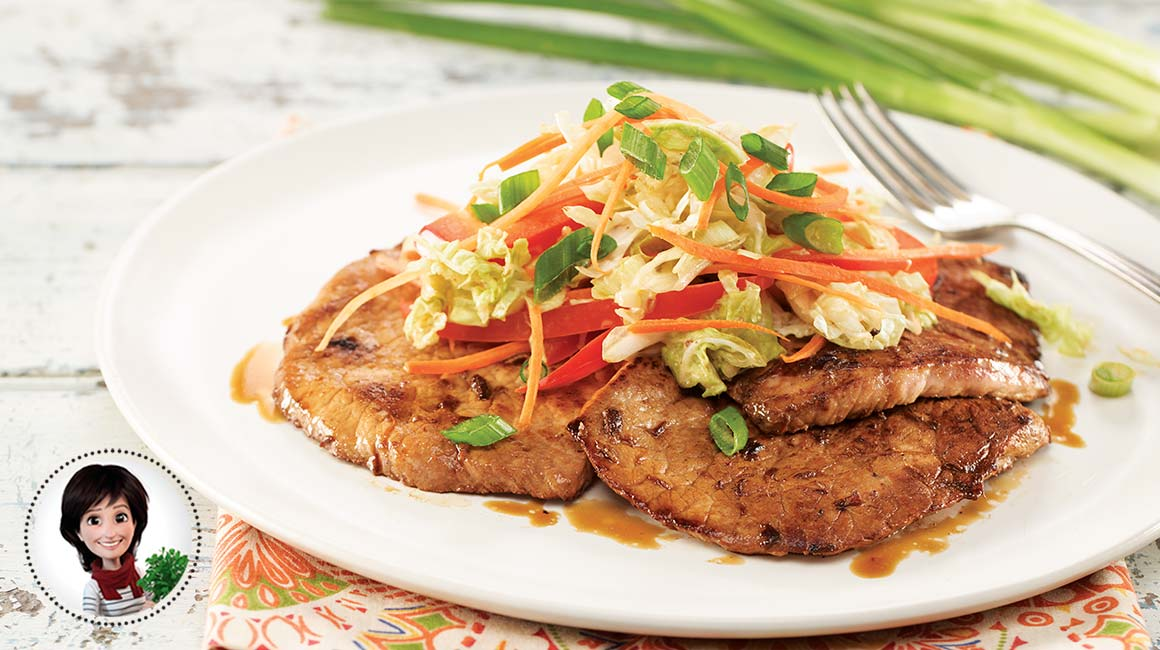 Pork cutlets with korean coleslaw