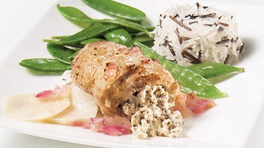 Veal Cutlets with Goat Cheese and Apples