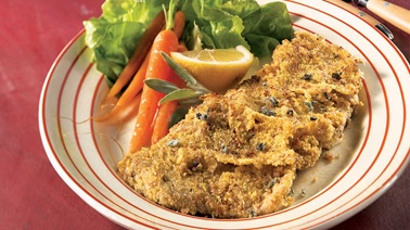 Lemon-sage breaded veal cutlets