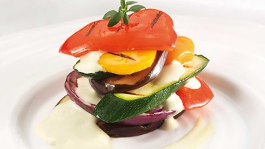 Layered Grilled Vegetables with Roquefort Emulsion Vinaigrette
