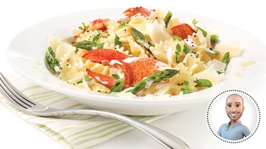 Farfalle with asparagus and lobster from Stefano Faita