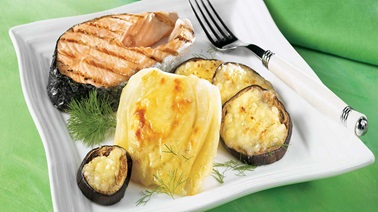 Fennel, eggplant and Emmental gratin