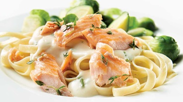 Fettucini with brook trout Alfredo sauce