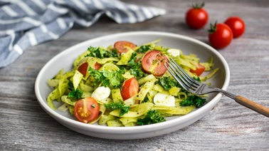 Vegetable Fettuccine with Pesto, Kale & Cherry Tomatoes