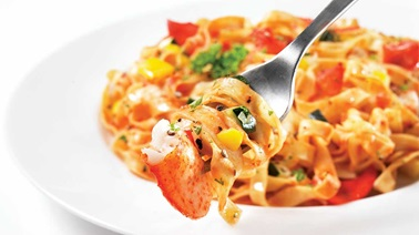 Fettucine with lobster marinara sauce