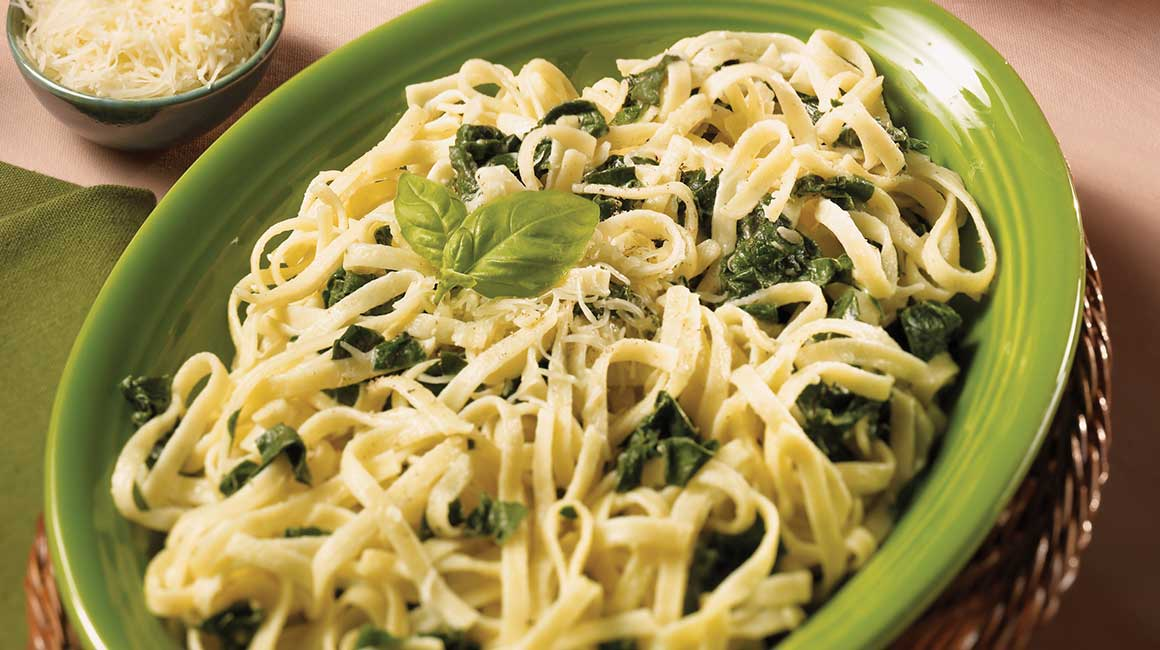 Goat cheese and spinach fettuccine Alfredo