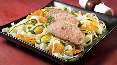 Pork tenderloin with spring vegetables