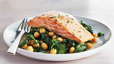 Salmon with dill and chickpea & spinach sauté