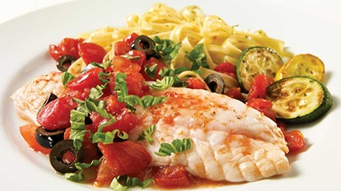 Sole fillets with tomatoes and olives