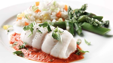 Sole fillets with red pepper coulis