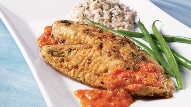 Tilapia fillets with red pepper coulis