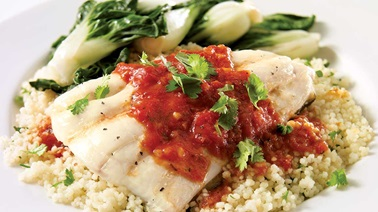 Turbot fillets with spicy sauce