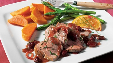 Filet de veau aux canneberges, au sirop d'érable et à l'orange