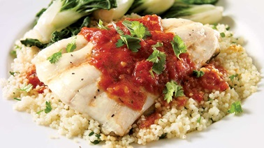 Greenland halibut fillets with spicy sauce