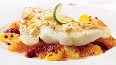 Halibut Fillets with White Wine Saffron Sauce over Mixed Citrus Salad