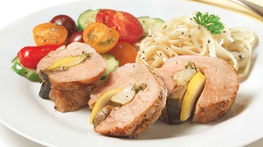 Artichoke-Stuffed Nagano Pork Tenderloin