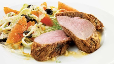 Ginger-orange pork tenderloin, fennel and orange salad