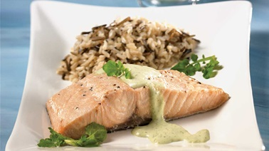 Quick Salmon Filets and Watercress Sauce