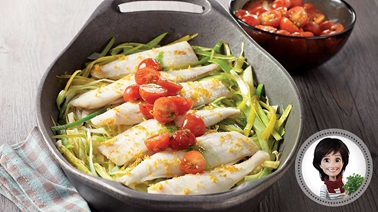 Oven-baked sole with leeks and green oil & tomato salsa from Josée di Stasio