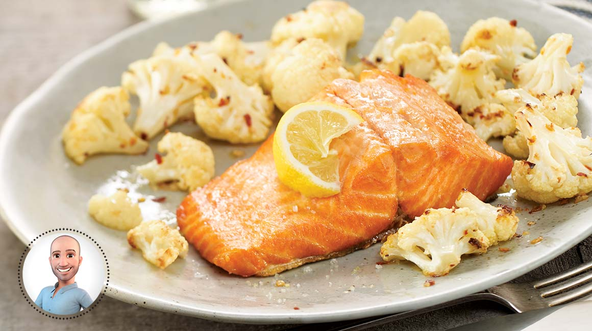 Trout fillets poached in olive oil with roasted cauliflower