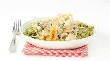 Fusilli with roasted squash, chicken, sunflower seeds, and mushrooms