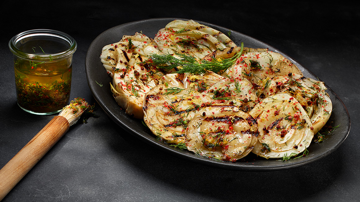 Grilled Fennel with Dill and Pink Pepper-Infused Oil