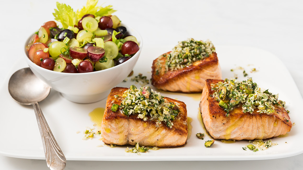 Grilled Salmon Fillet with Coconut-Pistachio Salsa and Fresh Grape Salad