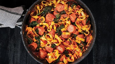 Portuguese Sausage & Spinach Fettuccini with Marinara Sauce