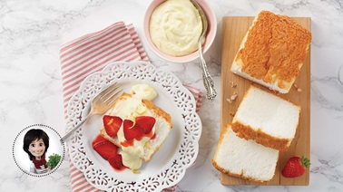 Angel food cake with lemon strawberry mousse