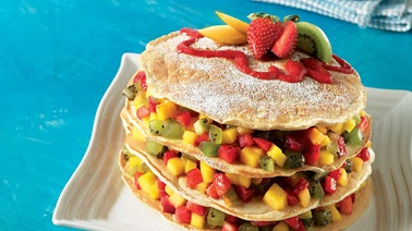 Multigrain crêpe and fruit breakfast torte