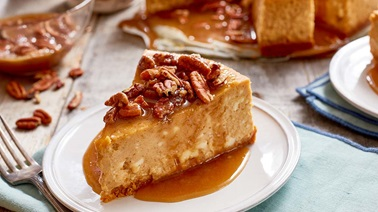 Pumpkin, maple, and pecan cheesecake
