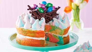 Spring Swirl Cake with Chocolate Pretzel Nest