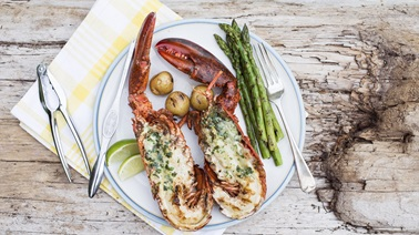 Grilled Split Lobster with Chili Lime Butter