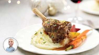 Braised lamb shanks from Stefano Faita