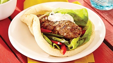 Grilled koftas with lemon and mint