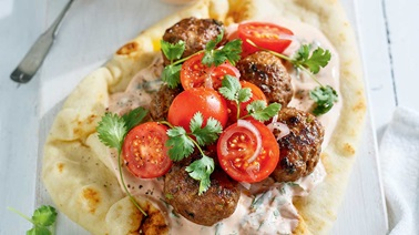 Beef Keftas on Naan Bread by Ricardo