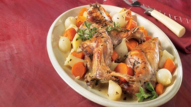 Rabbit with marjoram and vegetables