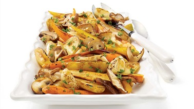 Roasted root vegetables, exotic mushrooms and cipollini onions