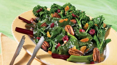 Greens with candied pecans