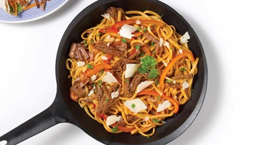 Linguine with shredded beef