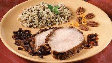 Spiced Pork Loin  with Orange and Nuts