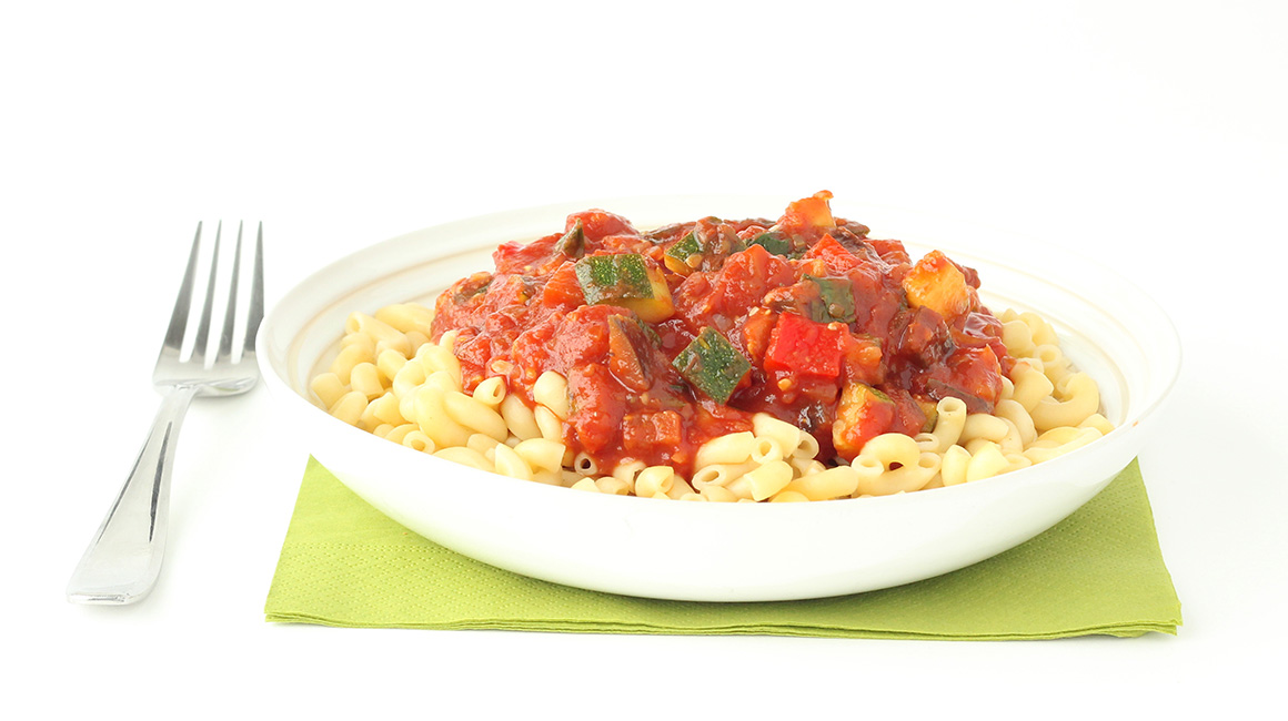 Macaroni with ricotta and ratatouille