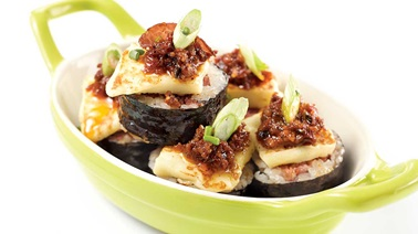 Capicollo maki with dried tomatoes and grilling cheese from Geneviève Everell