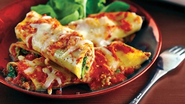 Veal, ricotta and Swiss chard manicotti