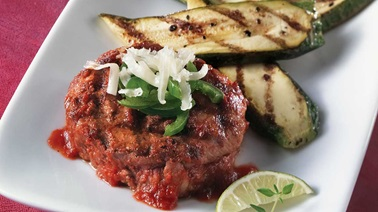 Grilled beef sirloin medallions and zucchini with a mexican twist