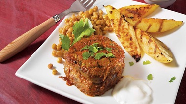 Indian-style beef strip loin medallions
