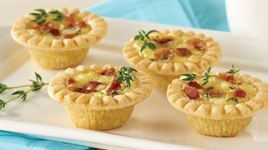 Mini bacon and two-cheese quiches