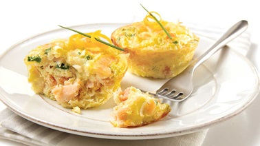 Mini breakfast quiches with smoked salmon and orange