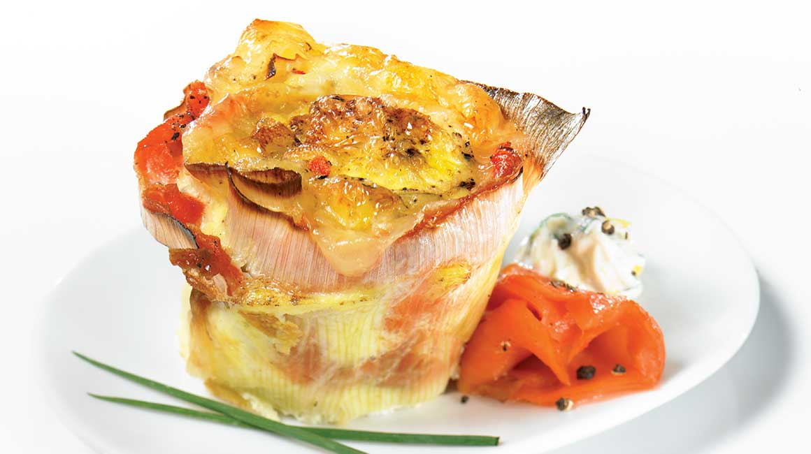 Smoked salmon and leek mini pinwheel quiches